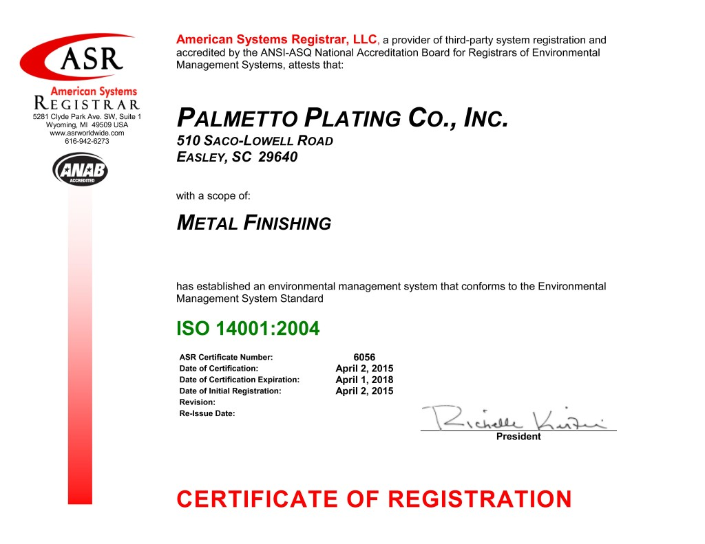 6056 Palmetto Plating ISO 14001 Certificate Apr 2015-signed