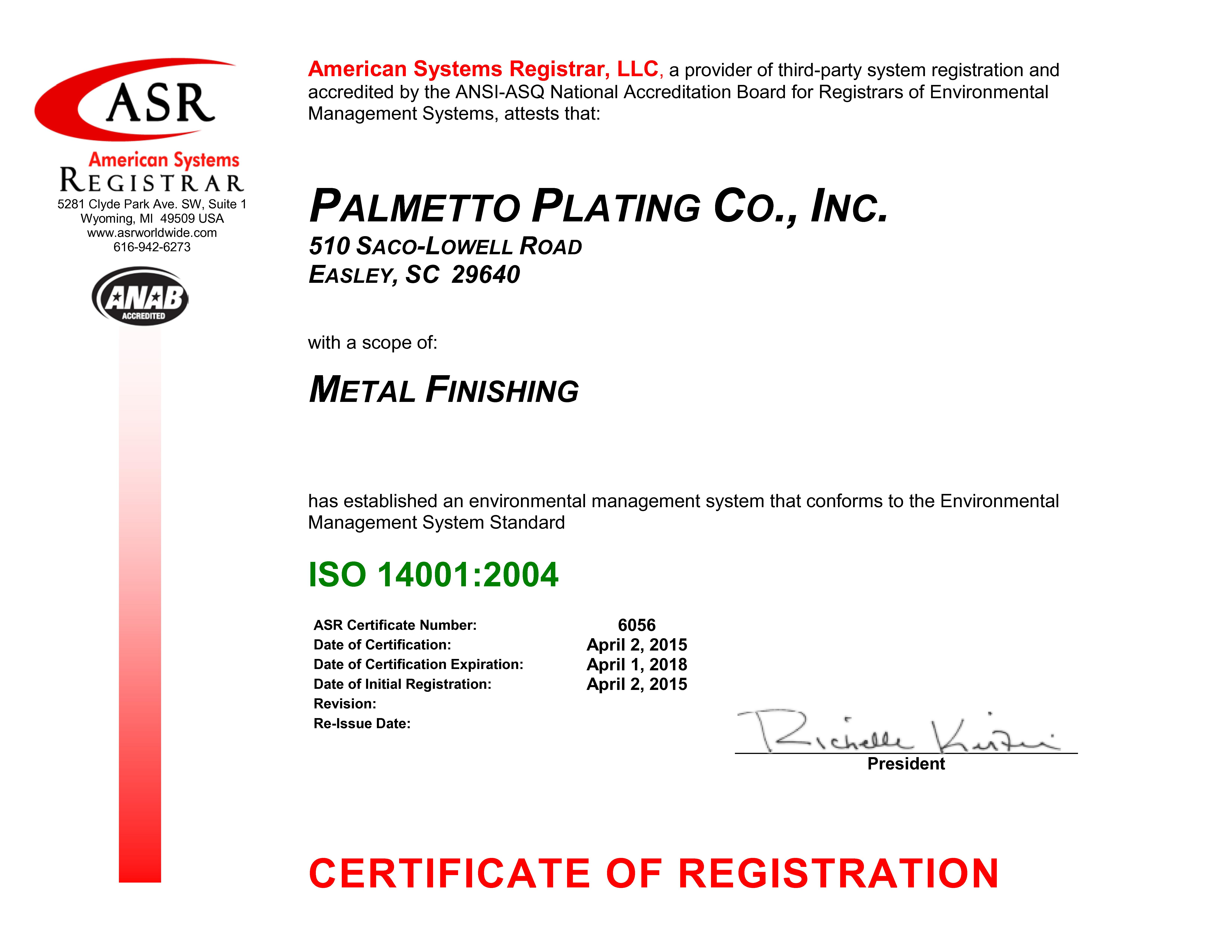 Iso 14001 2004 palmetto plating metal finishing services 6056 palmetto plating iso 14001 certificate apr 2015 signed xflitez Choice Image