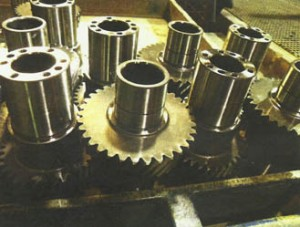 Palmetto Plating electroless nickel-plated the bearing surfaces on the ends of these main drive shafts. which are used in pleasure boats. The gear sections were masked