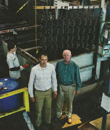 Hunter and John Cutchin in their Easley, S.C., plant, Palmetto Plating, which specializes in automotive parts such as brakes.